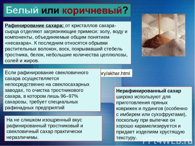 http://slogos.ru/story/akhar.html Рафинирование сахара: от кристаллов сахара-сырца отделяют загрязняющие примеси: золу, воду и компоненты, объединяемые общим понятием «несахара». К последним относятся обрывки растительных волокон, воск, покрывавший …