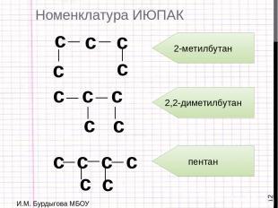 И.М. Бурдыгова МБОУ Остерская средняя школа Номенклатура ИЮПАК с _ _ с с _ с с _
