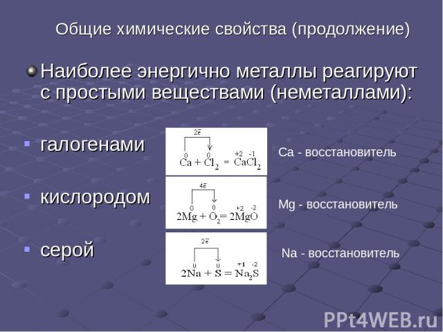 Общие химические свойства (продолжение) Наиболее энергично металлы реагируют с простыми веществами (неметаллами): галогенами кислородом серой Ca - восстановитель Mg - восстановитель Na - восстановитель