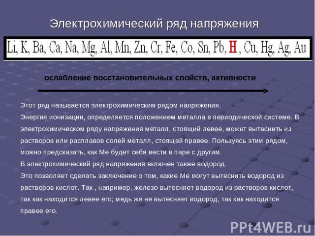 Электрохимический ряд напряжения Этот ряд называется электрохимическим рядом напряжения. Энергия ионизации, определяется положением металла в периодической системе. В электрохимическом ряду напряжения металл, стоящий левее, может вытеснить из раство…