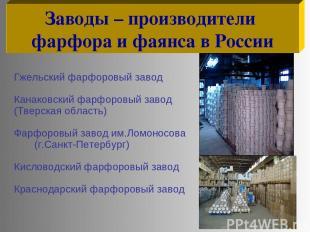 Гжельский фарфоровый завод Канаковский фарфоровый завод (Тверская область) Фарфо
