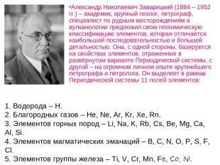 1. Водорода – Н. 2. Благородных газов – He, Ne, Ar, Kr, Xe, Rn. 3. Элементов гор