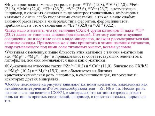Иную кристаллохимическую роль играют (6)Ti4+ (15,8), (6)V4+ (17,8), (4)Fe3+ (21,6), (4)Mn3+ (22,4), (4)Ti4+ (23,7), (6)V5+ (25,6), (4)V4+ (26,7), выступающие, например, в сложных оксидах в виде электроотрицательных амфотерных катионов с очень слабо …