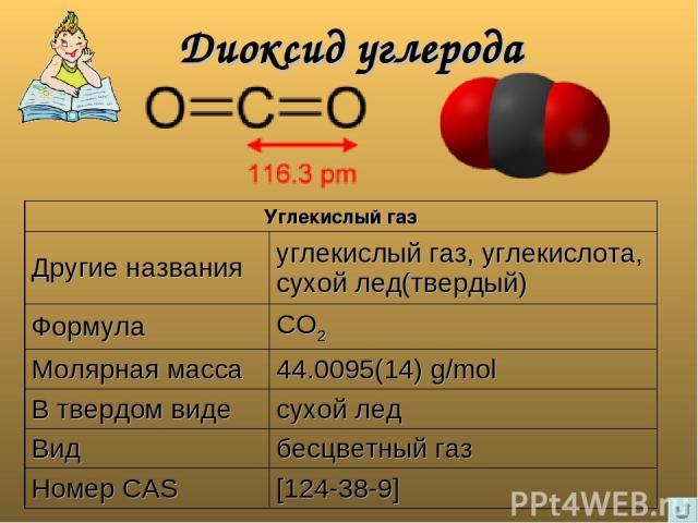 Диоксид углерода Углекислый газ Другие названия углекислый газ, углекислота, сухой лед(твердый) Формула CO2 Молярная масса 44.0095(14) g/mol В твердом виде сухой лед Вид бесцветный газ Номер CAS [124-38-9]