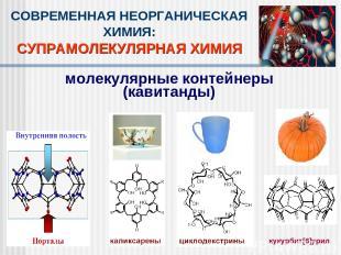СОВРЕМЕННАЯ НЕОРГАНИЧЕСКАЯ ХИМИЯ: СУПРАМОЛЕКУЛЯРНАЯ ХИМИЯ молекулярные контейнер