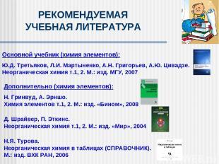 Дополнительно (химия элементов): Н. Гринвуд, А. Эрншо. Химия элементов т.1, 2. М