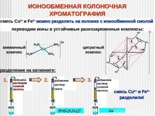 ИОНООБМЕННАЯ КОЛОНОЧНАЯ ХРОМАТОГРАФИЯ смесь Cu2+ и Fe3+ можно разделить на колон