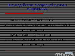 Взаимодействие фосфорной кислоты со щелочами: H3PO4 + 3NaOH = Na3PO4 + 3H2O 3H+
