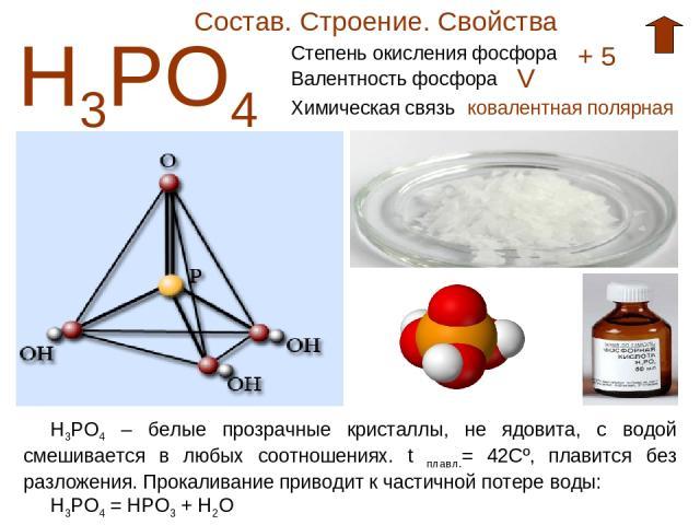 Состав. Строение. Свойства Н3РО4 Степень окисления фосфора + 5 Валентность фосфора V Химическая связь ковалентная полярная Н3РО4 – белые прозрачные кристаллы, не ядовита, с водой смешивается в любых соотношениях. t плавл.= 42Cº, плавится без разложе…