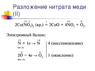 Разложение нитрата меди (II)