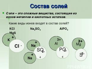 Состав солей Соли – это сложные вещества, состоящие из ионов металлов и кислотны