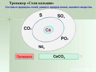 Са SO4 N03 PO4 S CO3 Проверка CaS СаSО4 Проверка Проверка Проверка Проверка Са3(