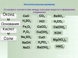 NaCl CaCO3 BaSO4 Mg(NO3)2 Na2SO4 Соли Оксиды СaО P2О5 Fe2О3 CО2 CuО Основания Ки