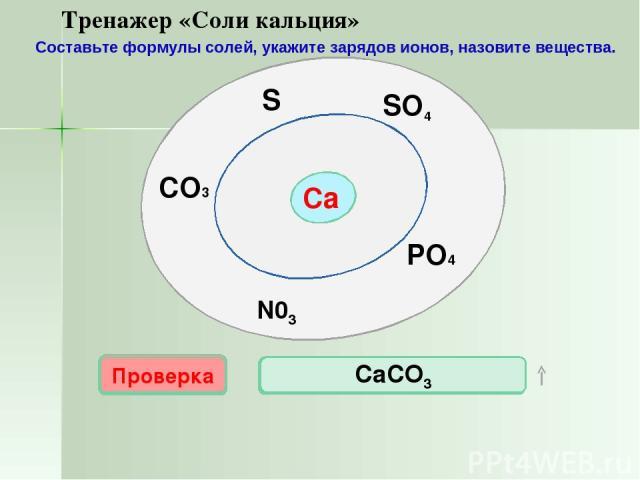 Са SO4 N03 PO4 S CO3 Проверка CaS СаSО4 Проверка Проверка Проверка Проверка Са3(PO4)2 Ca(NO3) 2 CaCO3 Тренажер «Соли кальция» Составьте формулы солей, укажите зарядов ионов, назовите вещества.