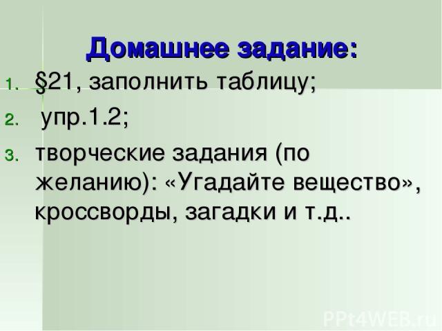 Домашнее задание: §21, заполнить таблицу; упр.1.2; творческие задания (по желанию): «Угадайте вещество», кроссворды, загадки и т.д..
