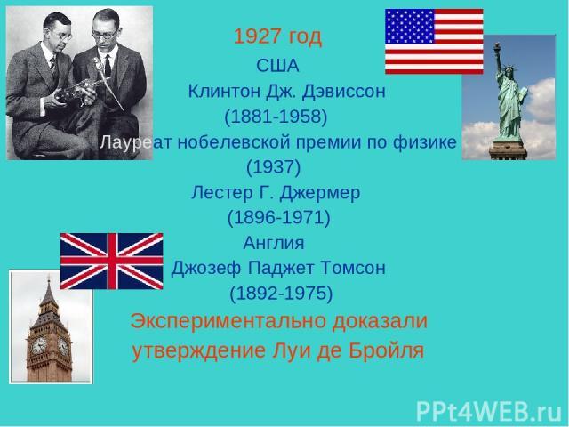 1927 год США Клинтон Дж. Дэвиссон (1881-1958) Лауреат нобелевской премии по физике (1937) Лестер Г.Джермер (1896-1971) Англия Джозеф ПаджетТомсон (1892-1975) Экспериментально доказали утверждение Луи де Бройля