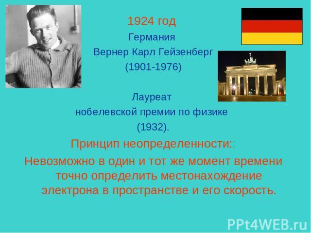 1924 год Германия Вернер Карл Гейзенберг (1901-1976) Лауреат нобелевской премии по физике (1932). Принцип неопределенности:: Невозможно в один и тот же момент времени точно определить местонахождение электрона в пространстве и его скорость.