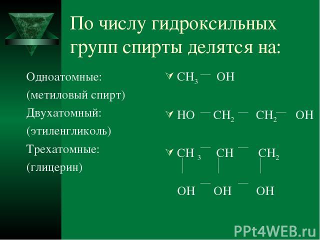По числу гидроксильных групп спирты делятся на: Одноатомные: (метиловый спирт) Двухатомный: (этиленгликоль) Трехатомные: (глицерин) CH3 OH HO CH2 CH2 OH CH 3 CH CH2 OH OH OH