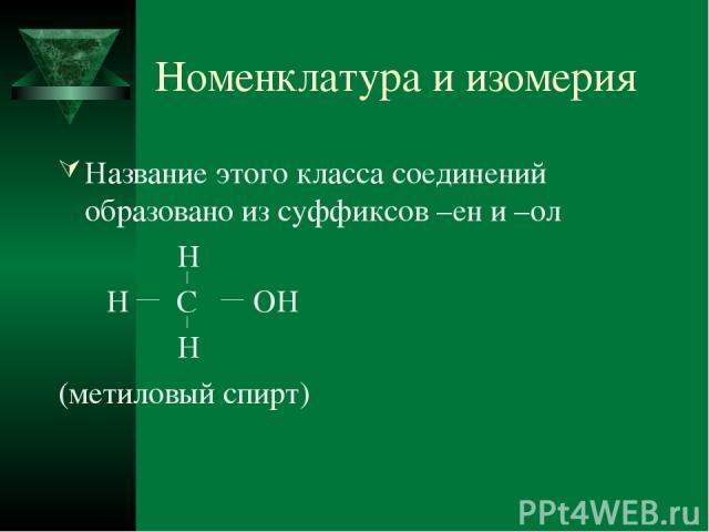 Номенклатура и изомерия Название этого класса соединений образовано из суффиксов –ен и –ол H H C OH H (метиловый спирт)