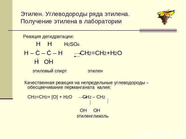 Этилен. Углеводороды ряда этилена. Получение этилена в лаборатории Качественная реакция на непредельные углеводороды –обесцвечивание перманганата калия: СН2=СН2+ [О] + Н2О СН2 – СН2 ОН ОН этиленгликоль Реакция дегидратации: Н Н Н2SО4 Н – С – С – Н С…