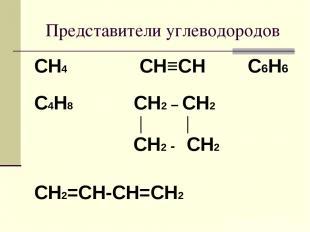 Представители углеводородов CH4 CH≡CH С6Н6 C4Н8 CH2 – CH2 │ │ CH2 - CH2 CH2=CH-C