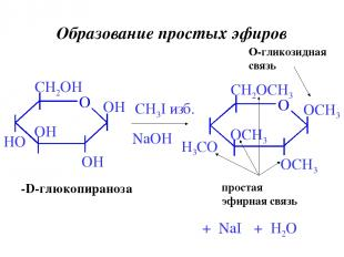 Образование простых эфиров β-D-глюкопираноза CH3I изб. NaOH + H2O + NaI O-гликоз