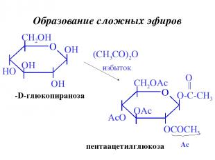 Образование сложных эфиров (CH3CO)2O избыток β-D-глюкопираноза пентаацетилглюкоз