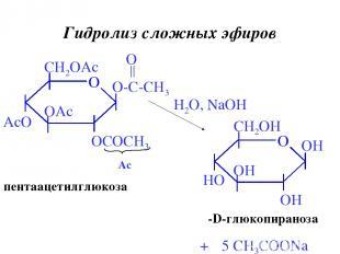 Гидролиз сложных эфиров H2O, NaOH + 5 CH3COONa пентаацетилглюкоза β-D-глюкопиран
