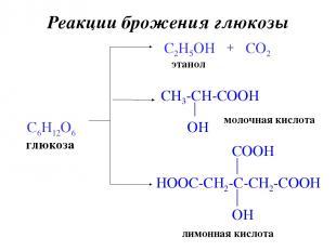 Реакции брожения глюкозы глюкоза C6H12O6 C2H5OH этанол + CO2 молочная кислота ли