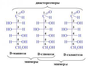 D-глюкоза D-галактоза D-манноза эпимеры эпимеры диастереомеры