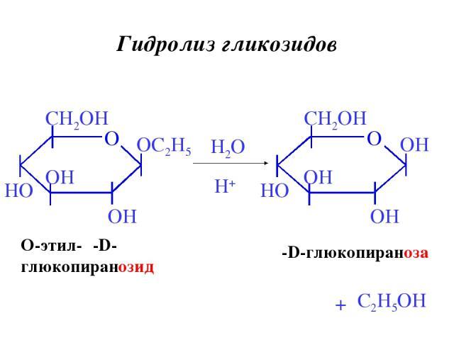 Гидролиз гликозидов β-D-глюкопираноза H2O H+ + O-этил-β-D- глюкопиранозид C2H5OH