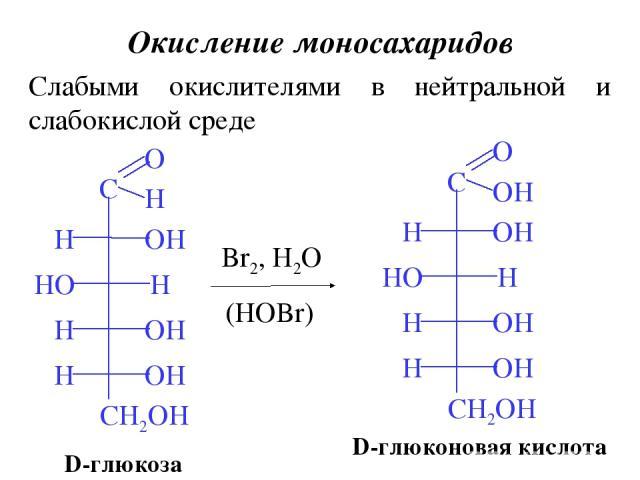 Окисление моносахаридов Слабыми окислителями в нейтральной и слабокислой среде D-глюкоза Br2, H2O (HOBr) D-глюконовая кислота