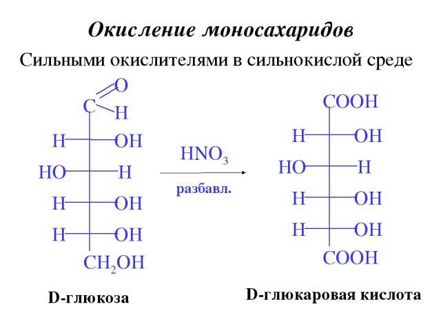 Окисление моносахаридов Сильными окислителями в сильнокислой среде HNO3 D-глюкаровая кислота D-глюкоза разбавл.