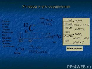 +H2O +2NaOH +NaOH +CaO CaCO3 +Me Графит Алмаз Уголь Нефть Известняк Мел Мрамор Д