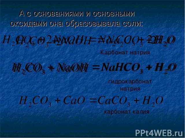 А с основаниями и основными оксидами она образовывала соли: 2 2 Карбонат натрия гидрокарбонат натрия карбонат калия