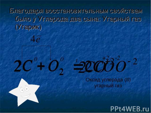 Благодаря восстановительным свойствам было у Углерода два сына: Угарный газ (Угарик) 2 0 0 t -2 +2 2 Оксид углерода (II) угарный газ
