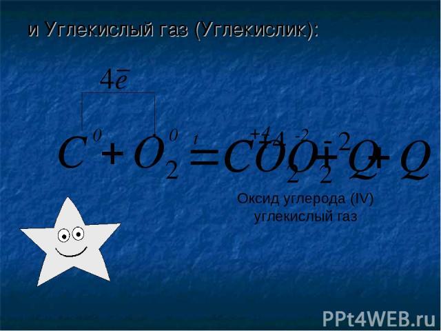 и Углекислый газ (Углекислик): 0 0 t -2 +4 Оксид углерода (IV) углекислый газ