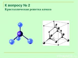 К вопросу № 2 Кристаллическая решетка алмаза