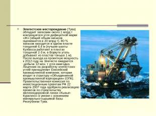 Элегестское месторождение (Тува) обладает запасами около 1 млрд т коксующегося у