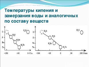 Температуры кипения и замерзания воды и аналогичных по составу веществ