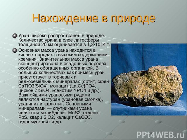 Нахождение в природе Уран широко распространён в природе. Количество урана в слое литосферы толщиной 20 км оценивается в 1,3·1014 т. Основная масса урана находится в кислых породах с высоким содержанием кремния. Значительная масса урана сконцентриро…