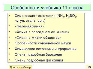Особенности учебника 11 класса Химическая технология (NH3, H2SO4, чугун, сталь,