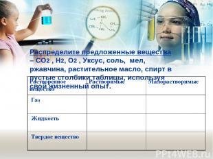 Распределите предложенные вещества –СO2, H2, O2,Уксус, соль,мел, ржавчина,