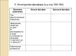 II. Аллотропия фосфора (н.у.стр.159-160) Признаки сравнения Белый фосфор Красный