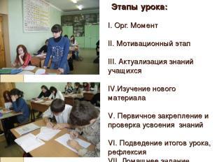 Этапы урока: I. Орг. Момент II. Мотивационный этап III. Актуализация знаний учащ