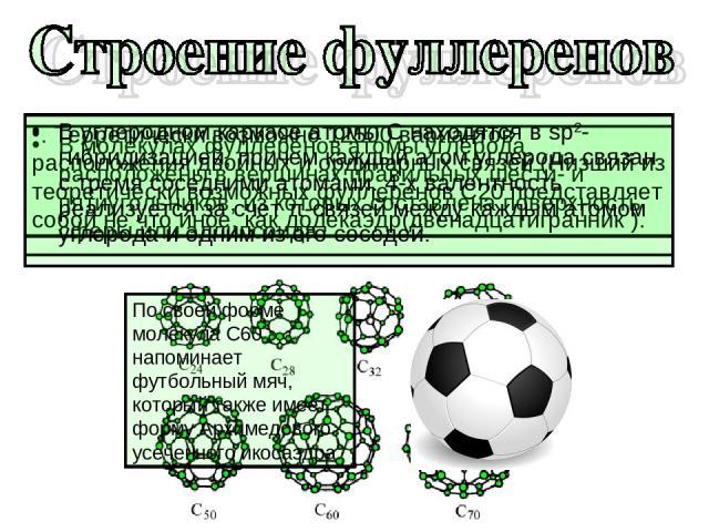 В молекулах фуллеренов атомы углерода расположены в вершинах правильных шести- и пятиугольников, из которых составлена поверхность сферы или эллипсоида . Теоретически возможно 12500 вариантов расположения двойных и ординарных связей (Низший из теоре…