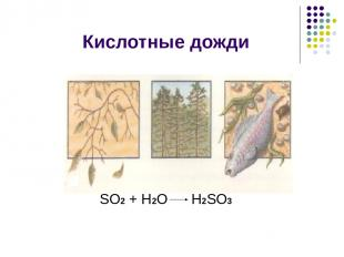 Кислотные дожди SО2 + Н2О Н2SО3