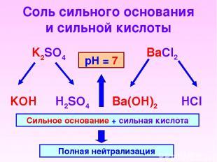 Соль сильного основания и сильной кислоты K2SO4 BaCl2 KOH H2SO4 HCl Ba(OH)2 Силь