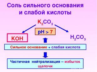 Соль сильного основания и слабой кислоты K2CO3 Н2CO3 KОН Сильное основание + сла