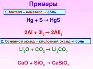 Примеры 1. Металл + неметалл соль Hg + S HgS 2Al + 3I2 2AlI3 2. Основной оксид +